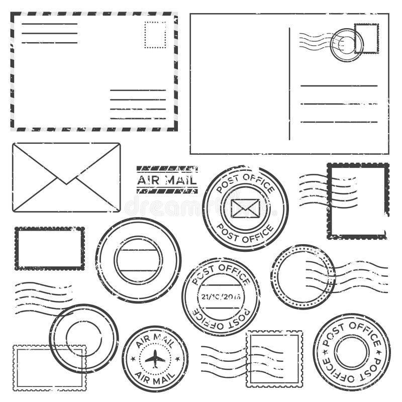 Gammal post- bokstav med poststämpelstämplar Antika flygpostbokstäver med den plana gränsfläcken, etiketten för poststämpel och s royaltyfri illustrationer