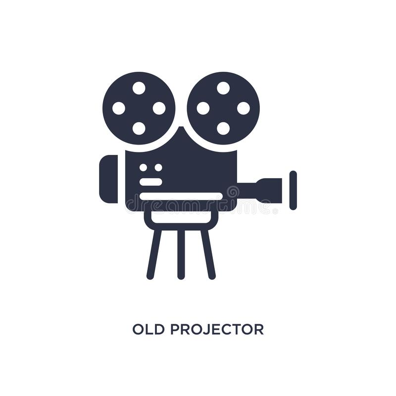 gammal projektorsymbol på vit bakgrund Enkel beståndsdelillustration från biobegrepp vektor illustrationer