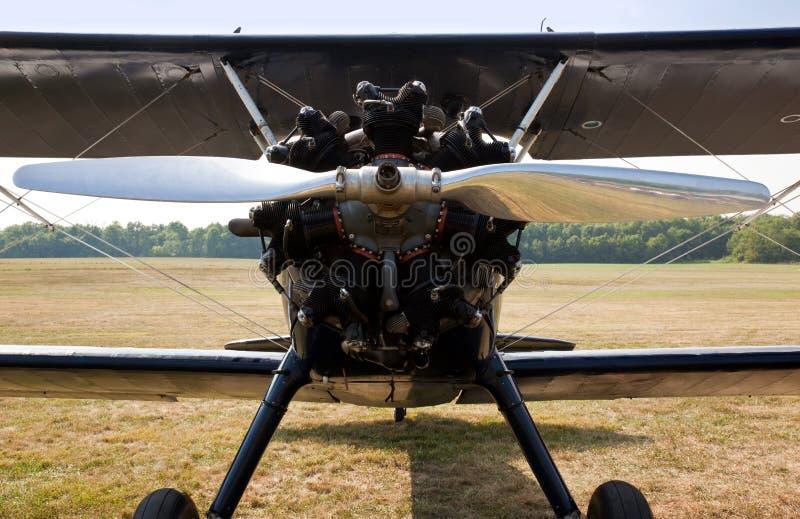 gammal propeller för biplanemotor royaltyfri foto