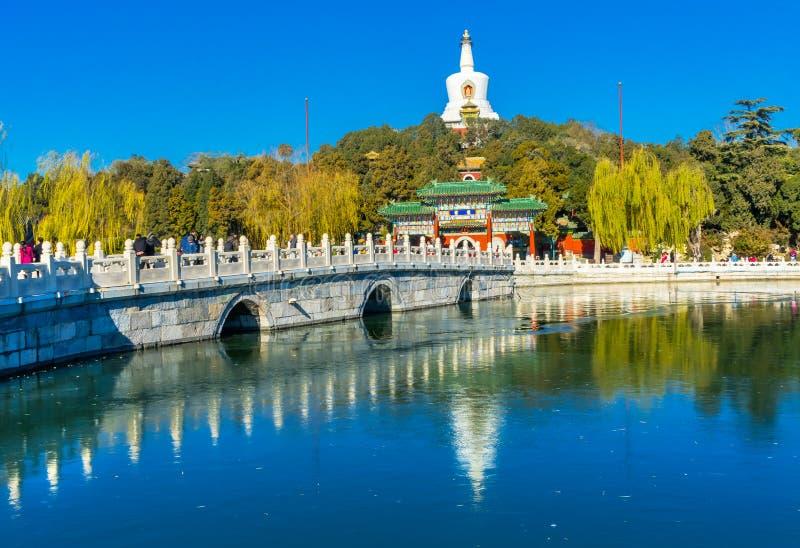 Gammal Qing Library Archives Beihai Park Peking Kina fotografering för bildbyråer