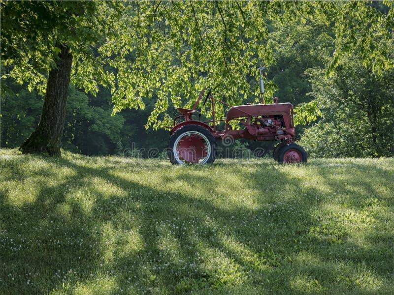 Gammal röd traktor i solen arkivbild