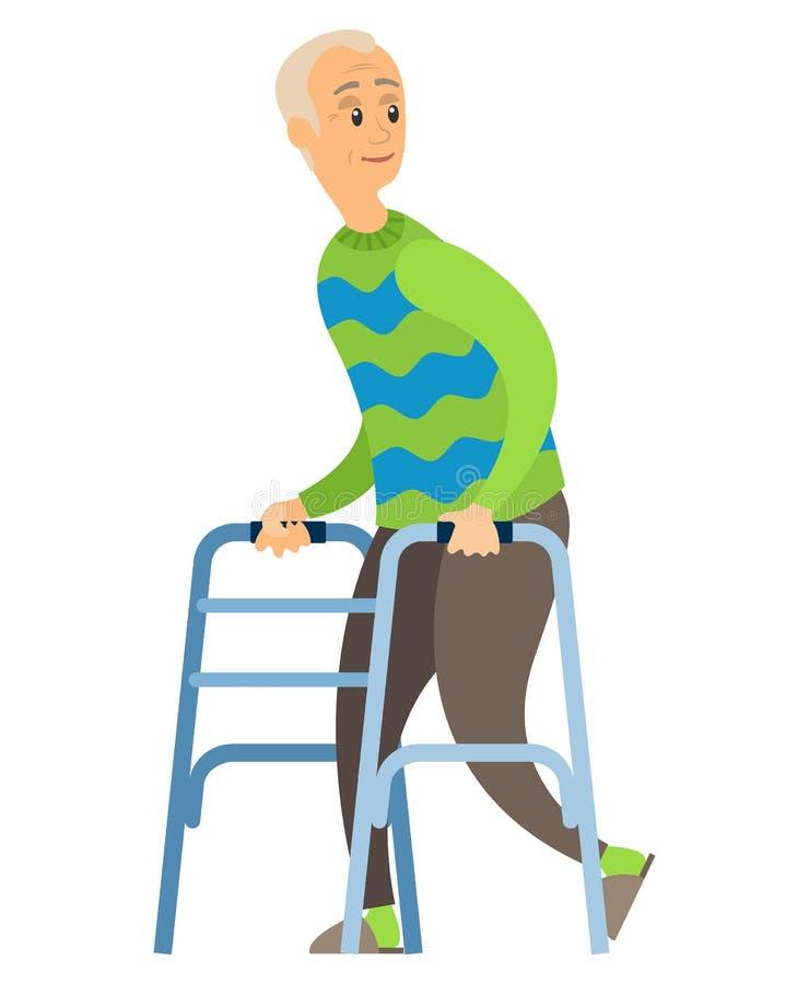 Gammal rörelsehindrad man med skovelfotgängaren, lycklig veteran royaltyfri illustrationer