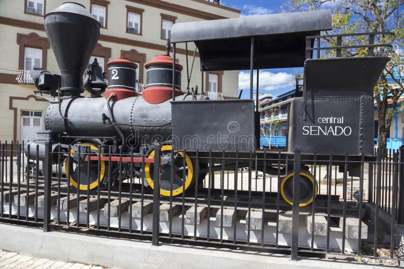 Gammal rörlig för Exhibit Outdoor Rail för modell för järnvägångamotor Camaguey museum Kuba royaltyfria bilder