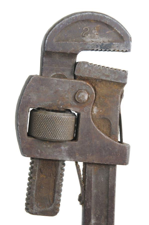 gammal rørskiftnyckel arkivbild