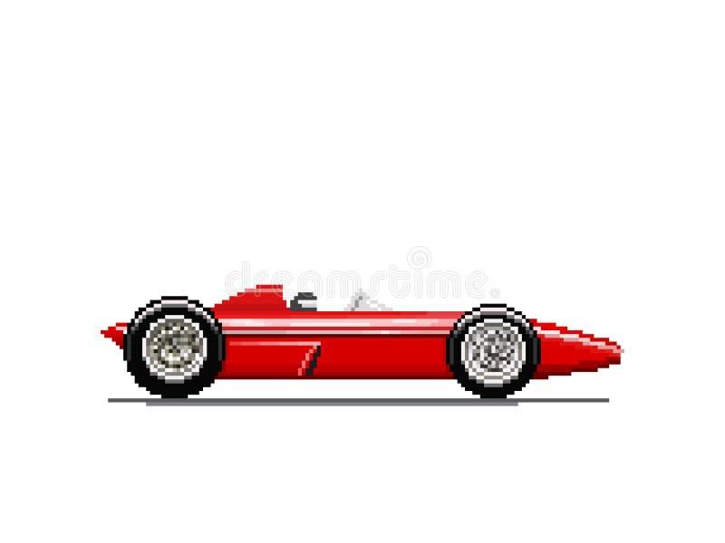 Gammal racerbil för PIXEL vektor illustrationer