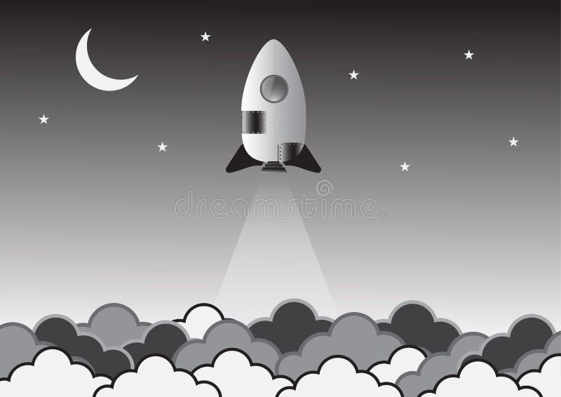 Gammal raket på idérik idé för utrymme vektor illustration vektor illustrationer