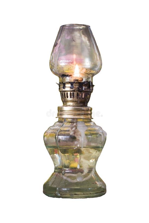 Gammal ram för olje- lampa en mycket på en vit bakgrund arkivbild