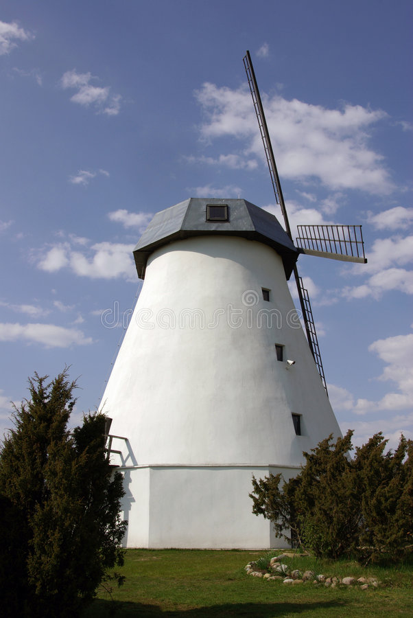 gammal renoverad windmill royaltyfria bilder