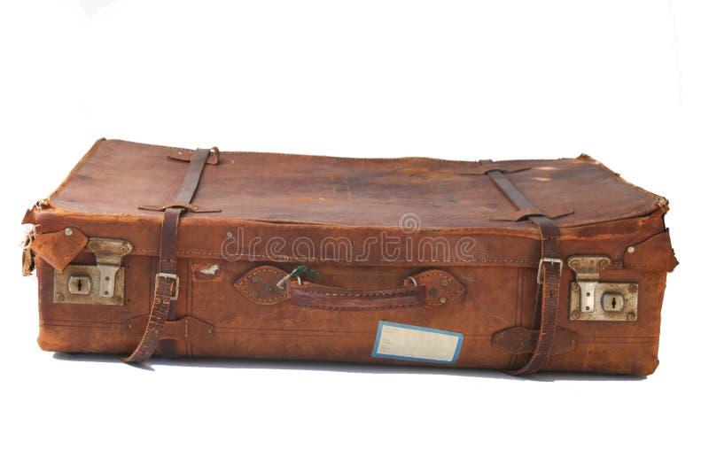 gammal resväska för läder arkivfoton