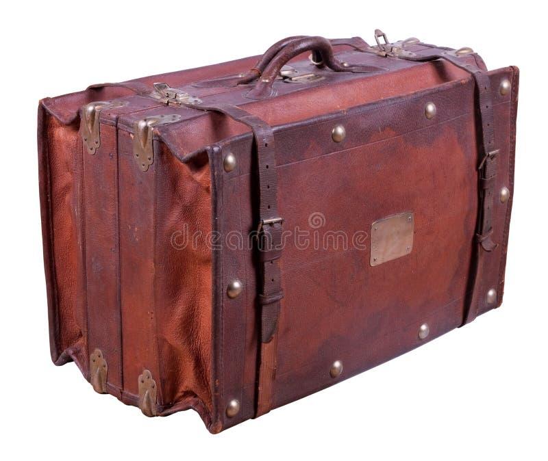 gammal resväska för läder arkivbilder