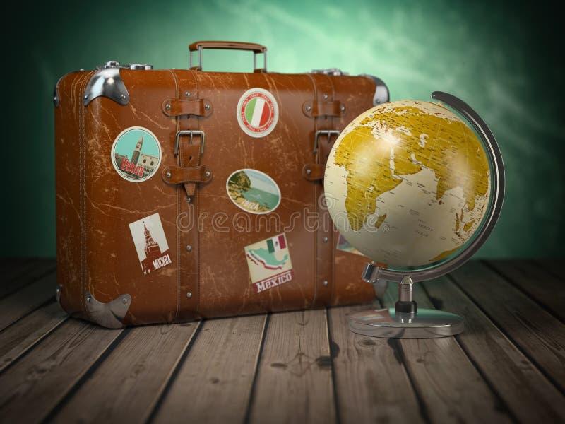 Gammal resväska med jordklotet på wood bakgrund Lopp eller turism c stock illustrationer