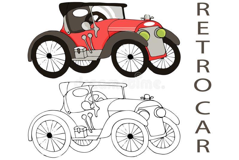 Gammal retro bilvektorillustration som isoleras p? vit bakgrund arkivbild