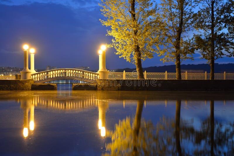 Gammal retro bro och reflexion över vatten royaltyfria bilder