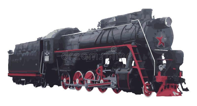 Gammal retro lokomotiv stock illustrationer