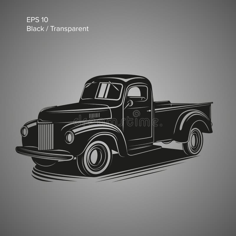Gammal retro pickupvektorillustration Tappningtransportmedel royaltyfri illustrationer