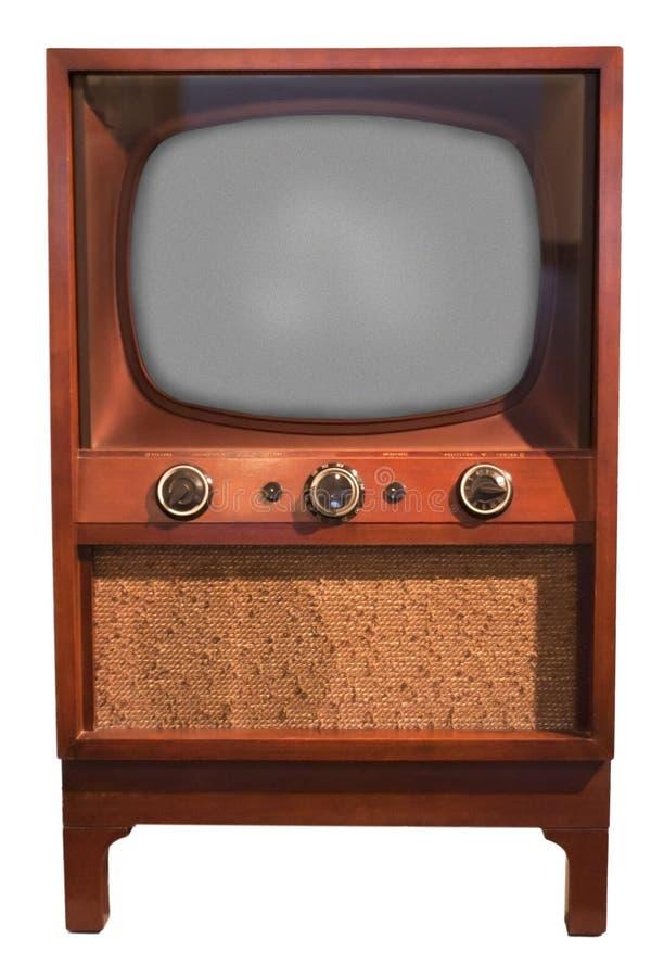 Gammal Retro Set för tappningTVkonsol, femtiotal som isoleras