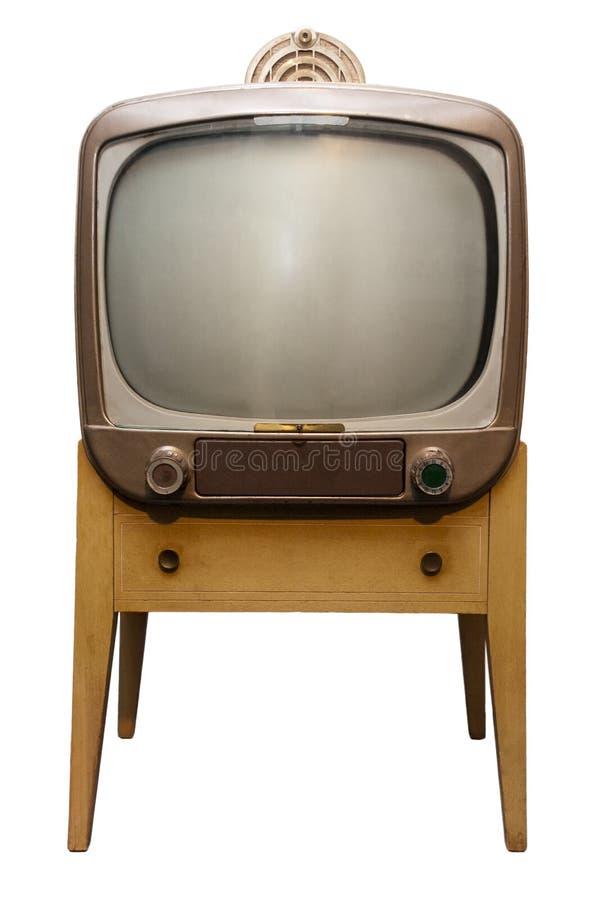 Gammal Retro Set för tappningTVkonsol, femtiotal som isoleras fotografering för bildbyråer