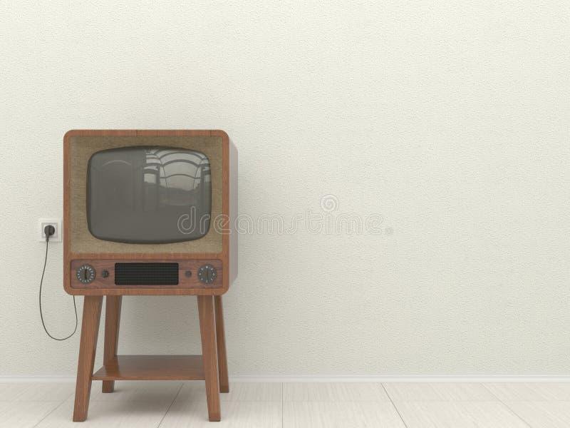 Gammal retro TV i inre av en vardagsrum på en bakgrund av en vit packad vägg kopiera avstånd illustration 3d vektor illustrationer