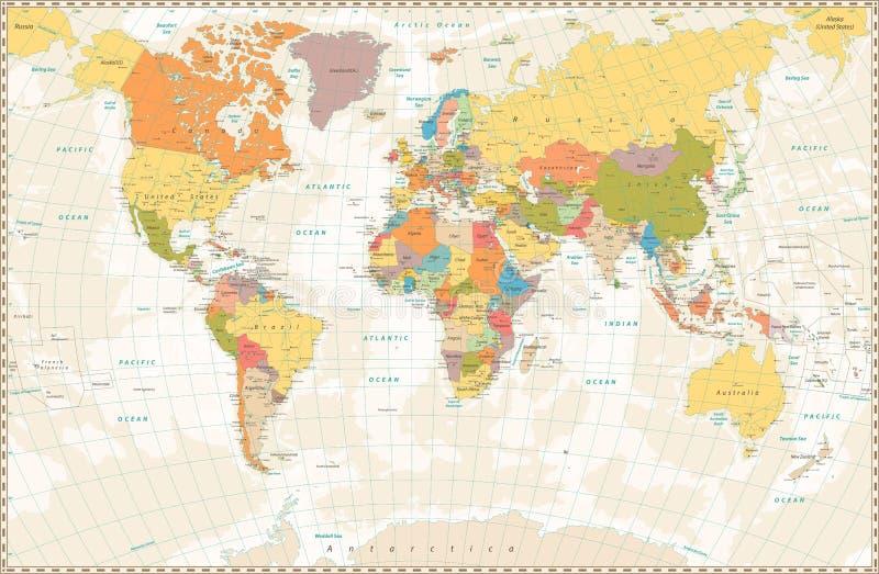 Gammal retro världskarta med sjöar och floder arkivfoto