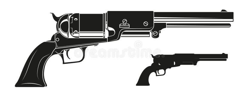 Gammal revolver för grafisk detaljerad kontur vektor illustrationer
