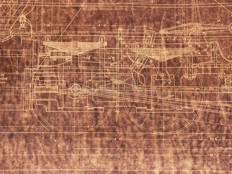gammal ritninglokomotiv arkivbild