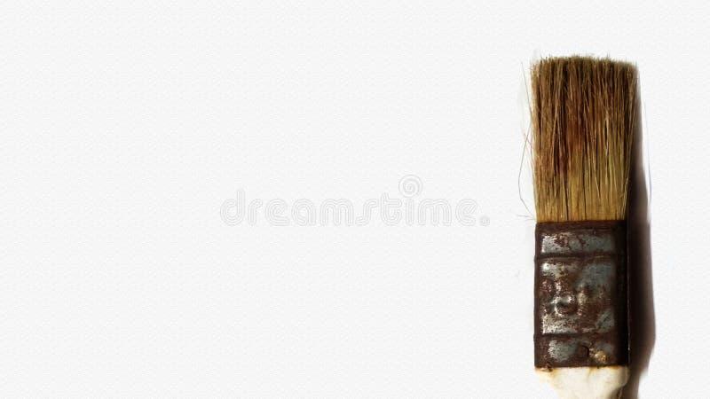 gammal rostad målarfärgborste som isoleras med urklippbanan - bild arkivbilder