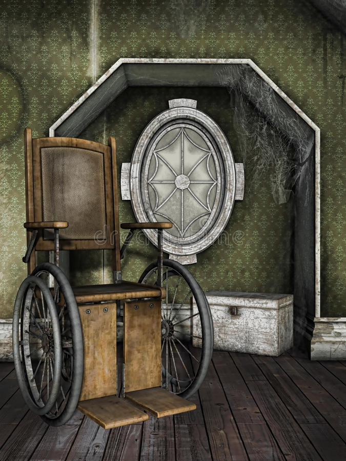 Gammal rullstol i ett dammigt rum royaltyfri illustrationer