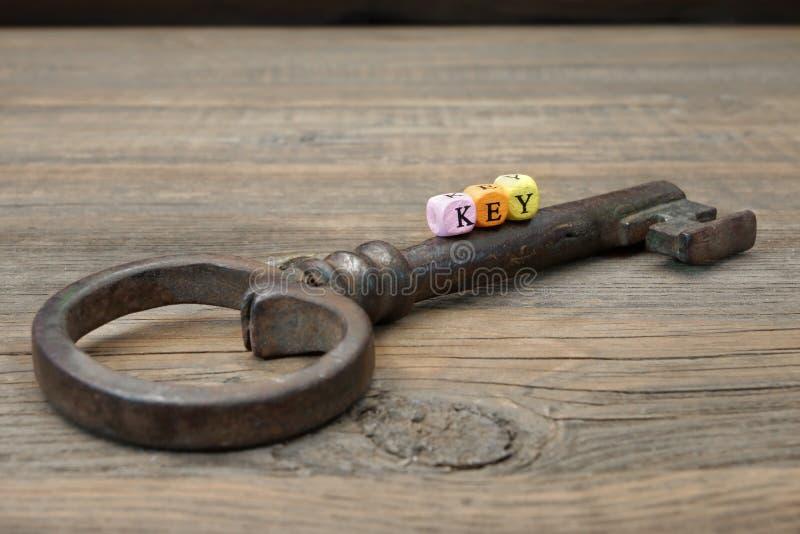 Gammal Rusty Iron Key och teckenTANGENT fotografering för bildbyråer