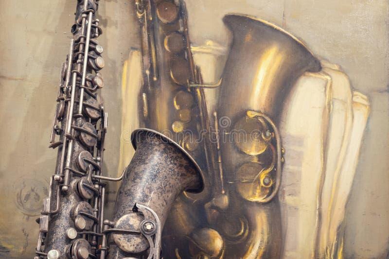 gammal saxofon royaltyfri fotografi