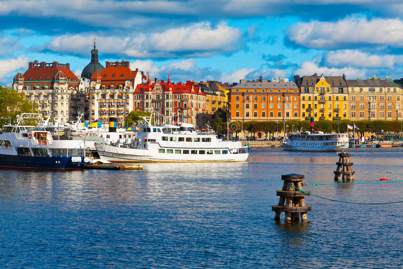 gammal scenisk stockholm sweden townsikt fotografering för bildbyråer
