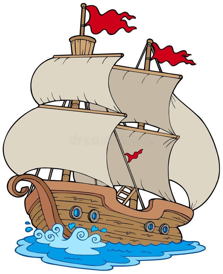 gammal segelbåt royaltyfri illustrationer