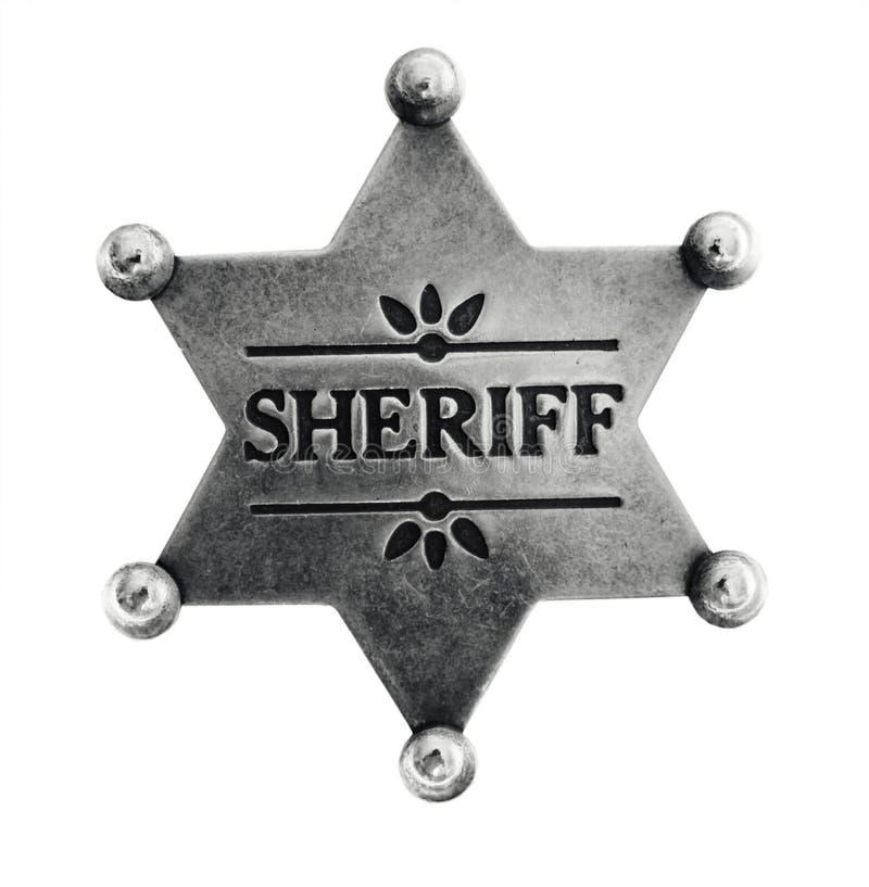 gammal sheriffstjärna för emblem arkivbild