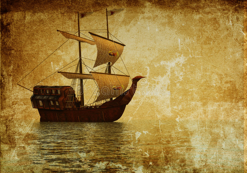 gammal ship stock illustrationer