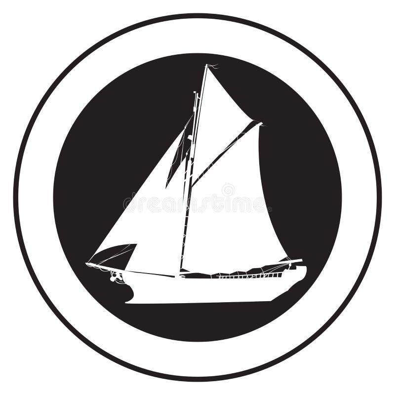 gammal ship för emblem stock illustrationer