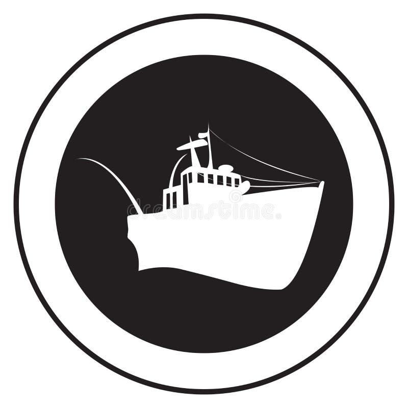 gammal ship för emblem royaltyfri illustrationer
