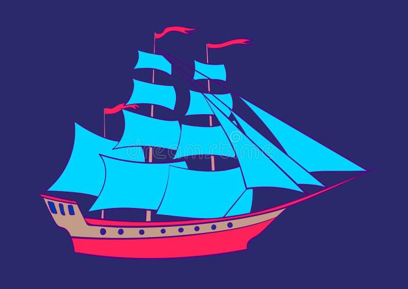 gammal ship Illustration för segelbåt för vektortecknad filmtappning som isoleras på blå bakgrund Leksak f?r pojke stock illustrationer