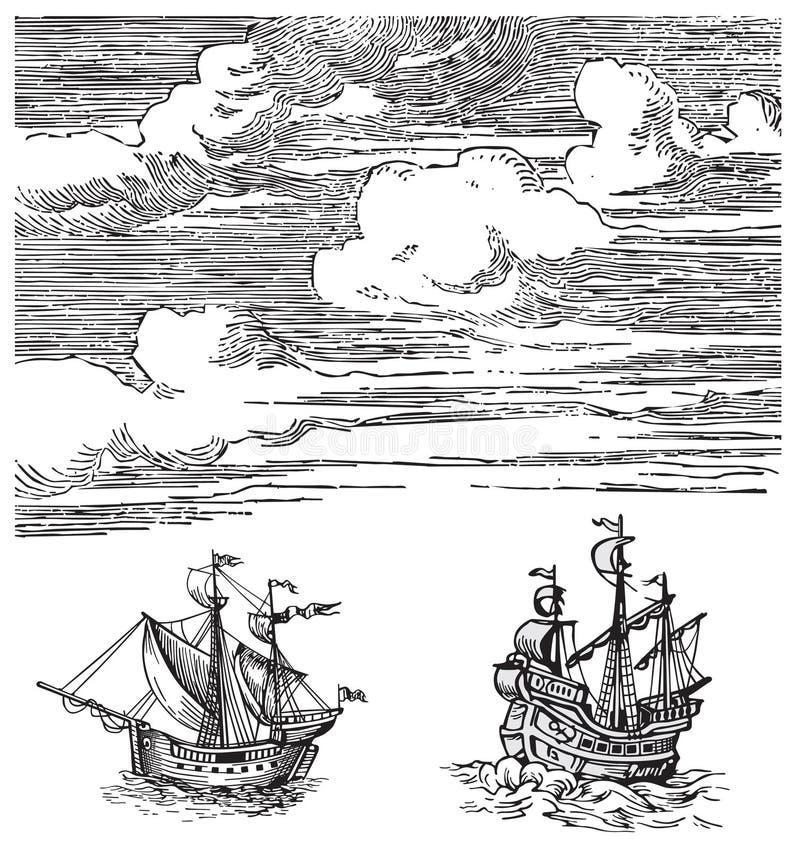 gammal shipsvektor stock illustrationer