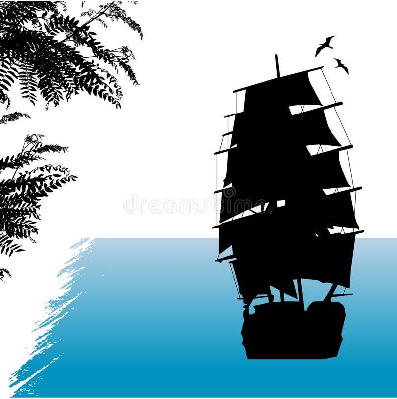 gammal shipvektor royaltyfri illustrationer