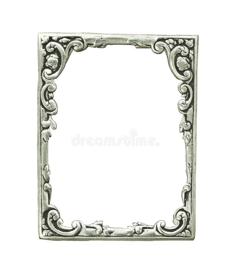 gammal silver för dekorativ ram arkivfoton