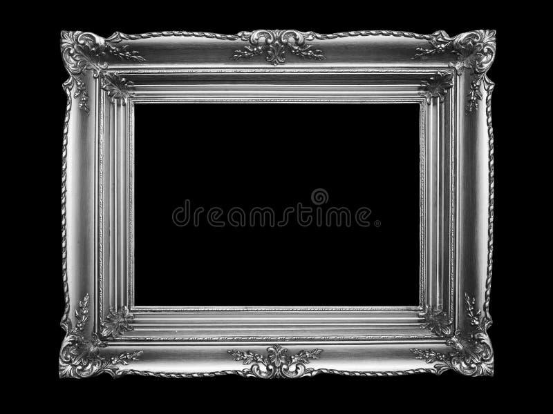 Gammal silverbildram på svart bakgrund arkivbilder