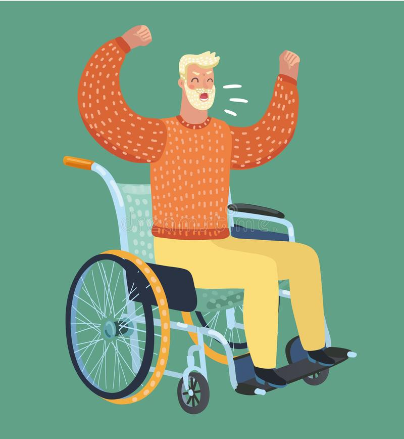 gammal sittande rullstol för man Svär, får ilsket vektor illustrationer