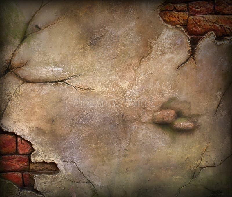 Gammal skadlig tegelstenvägg arkivbild
