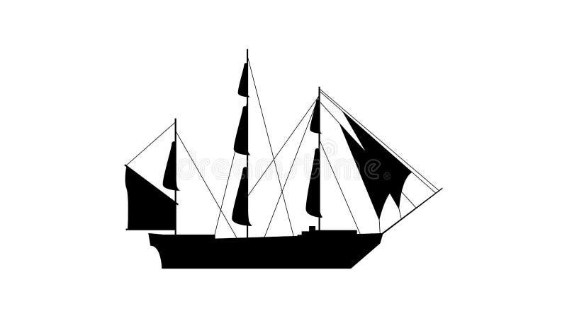 Gammal skeppkontursymbol Beståndsdel av skeppsymbolen Högvärdig kvalitets- symbol för grafisk design Tecken och symbolsamlingssym royaltyfri illustrationer
