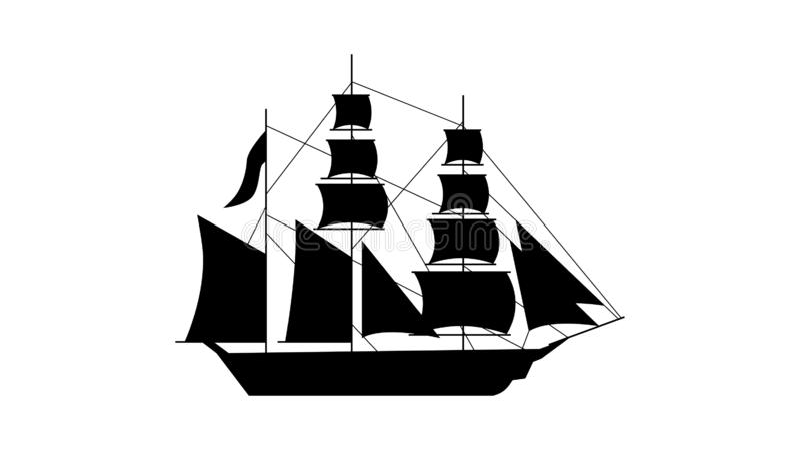 Gammal skeppkontursymbol Beståndsdel av skeppsymbolen Högvärdig kvalitets- symbol för grafisk design Tecken och symbolsamlingssym vektor illustrationer