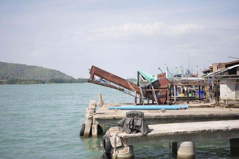 Gammal skeppsdocka i chanthaburien, Thailand arkivbilder
