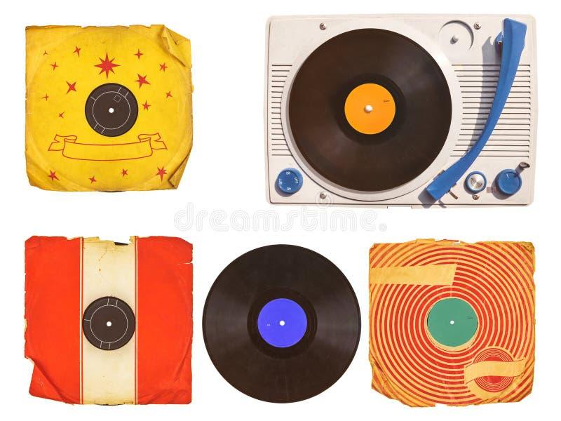 Gammal skivtallrikspelare med rekord- album som isoleras på vit fotografering för bildbyråer