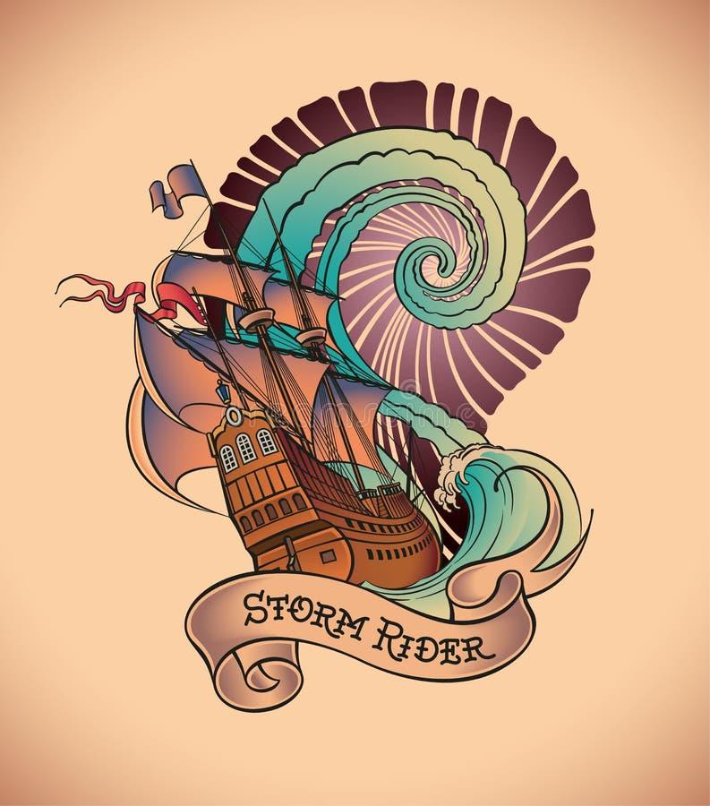 Gammal-skola tatuering - stormryttare royaltyfri illustrationer