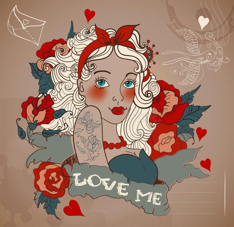 Gammal-skola utformad tatueringkvinna med blommor vektor illustrationer