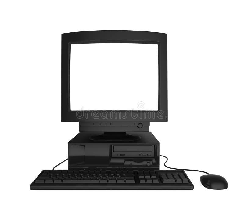 Gammal skrivbords- dator med en tom vit ett isolerade skärmbildskärm, tangentbord och mus royaltyfri illustrationer