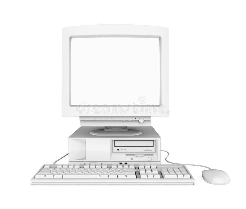 Gammal skrivbords- dator med en tom vit ett isolerade skärmbildskärm, tangentbord och mus vektor illustrationer
